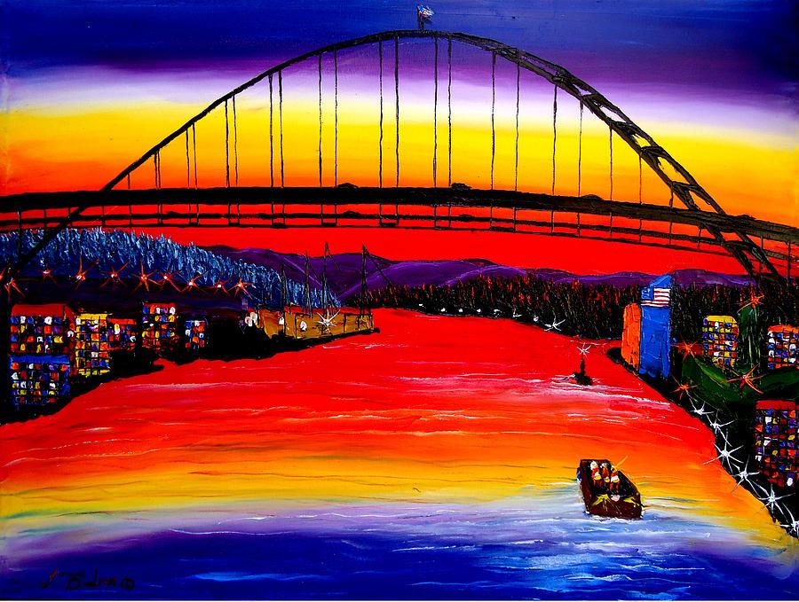 Fremont Bridge At Dusk #15 Painting by Dunbars Modern Art