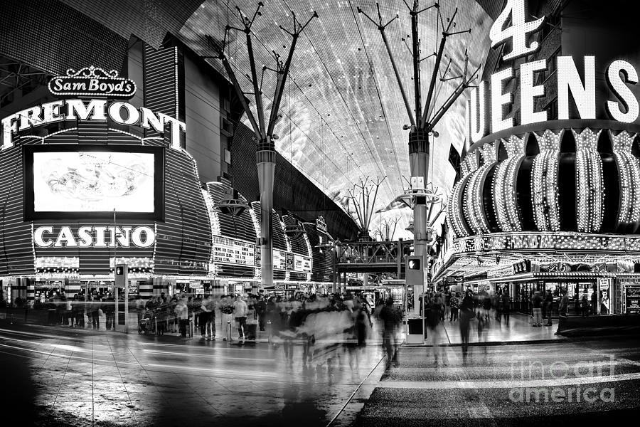 Fremont Street Casinos Bw Photograph