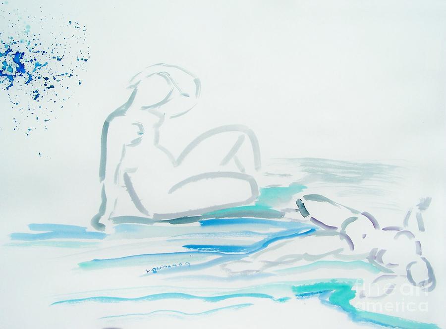 Nude Drawing - French Bathers by Geraldine Liquidano