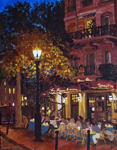 Landscape Painting - French Bistro At Night by Fran Steinmark