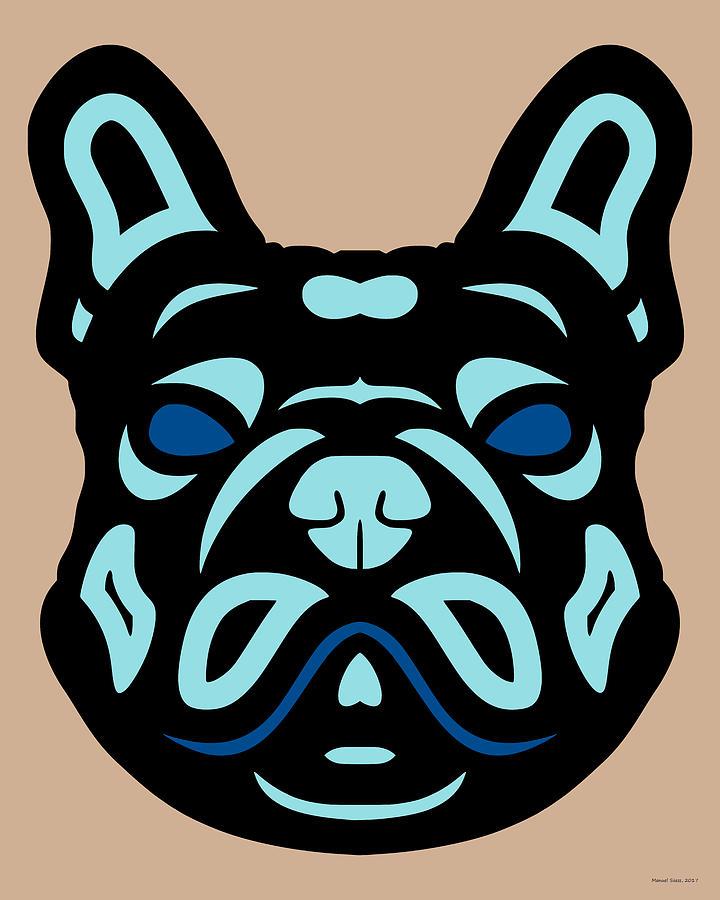 French Bulldog Francis - Dog Design - Hazelnut, Island Paradise, Lapis Blue by Manuel Sueess