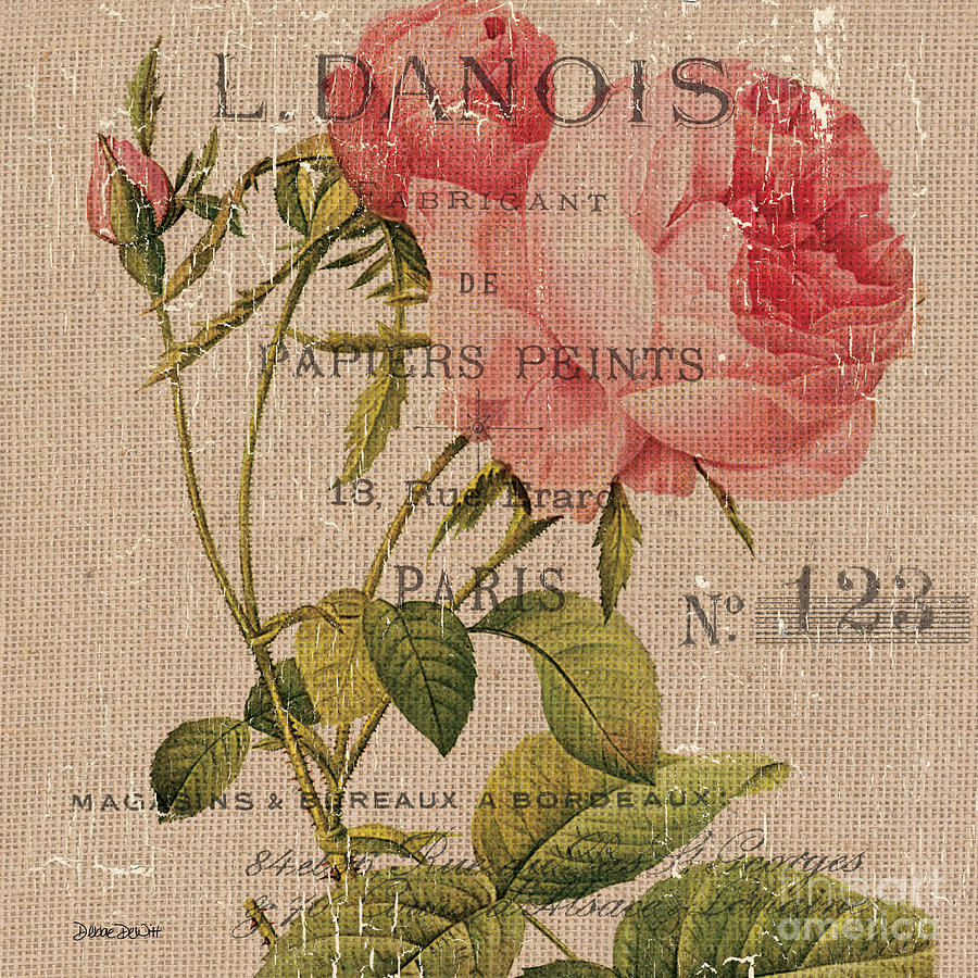 Floral Painting - French Burlap Floral 2 by Debbie DeWitt