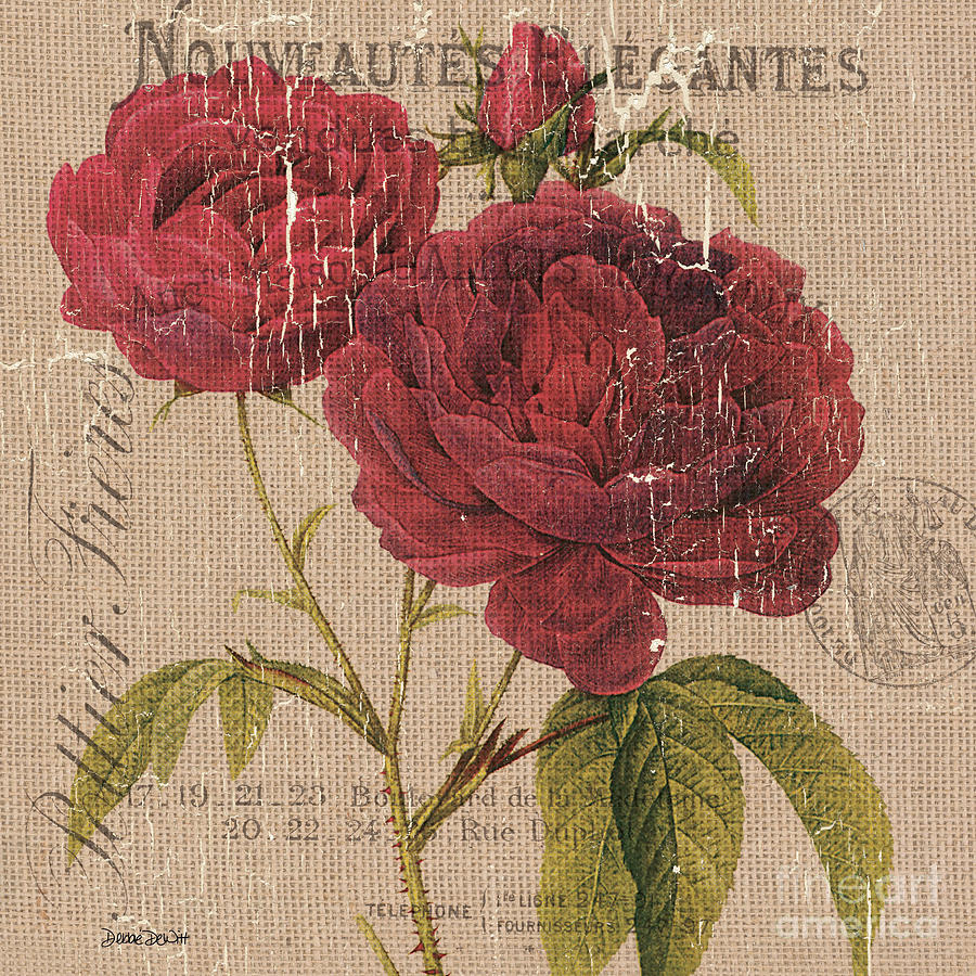 Floral Painting - French Burlap Floral 3 by Debbie DeWitt