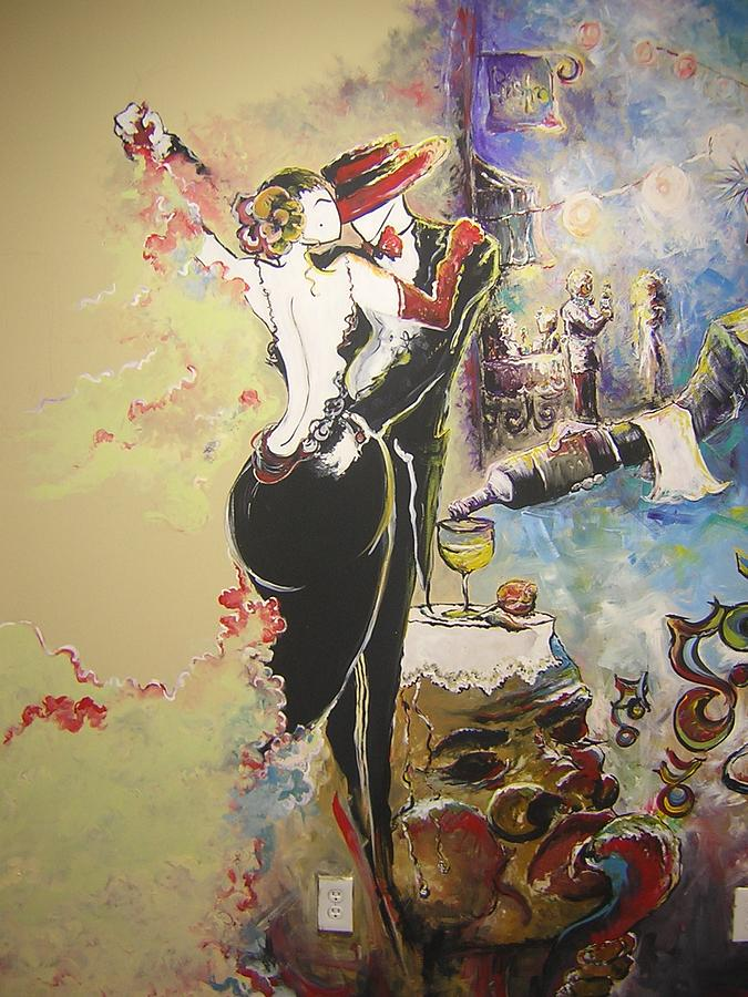 Dancing Painting - French Cafe 1  Portion Of Mural   by Summer Viljoen