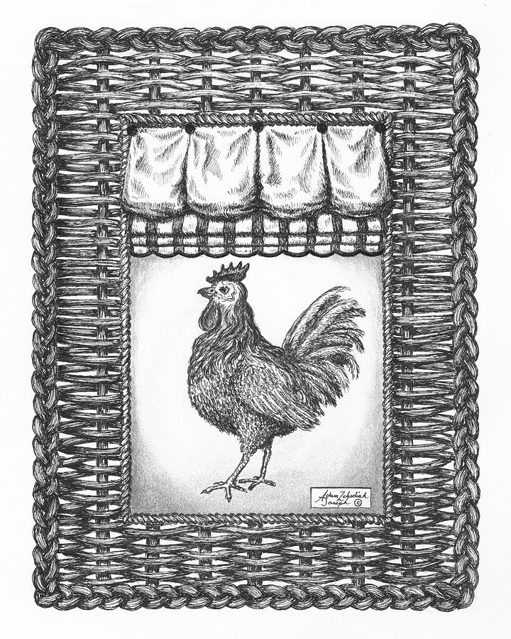 Black Drawing - French Country Rooster by Adam Zebediah Joseph