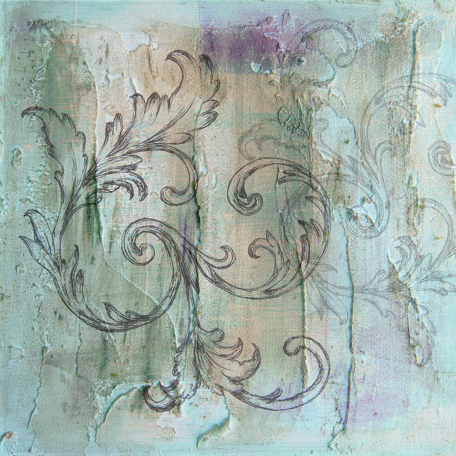 French country scroll in muted blue by Jocelyn Friis