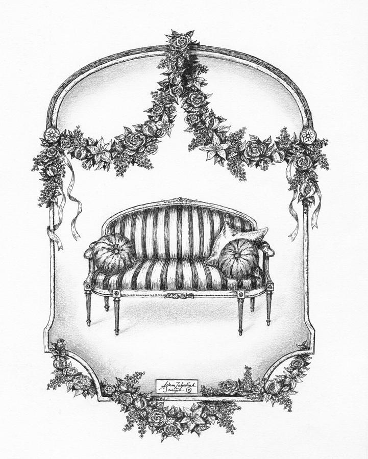 Black Drawing - French Country Sofa by Adam Zebediah Joseph