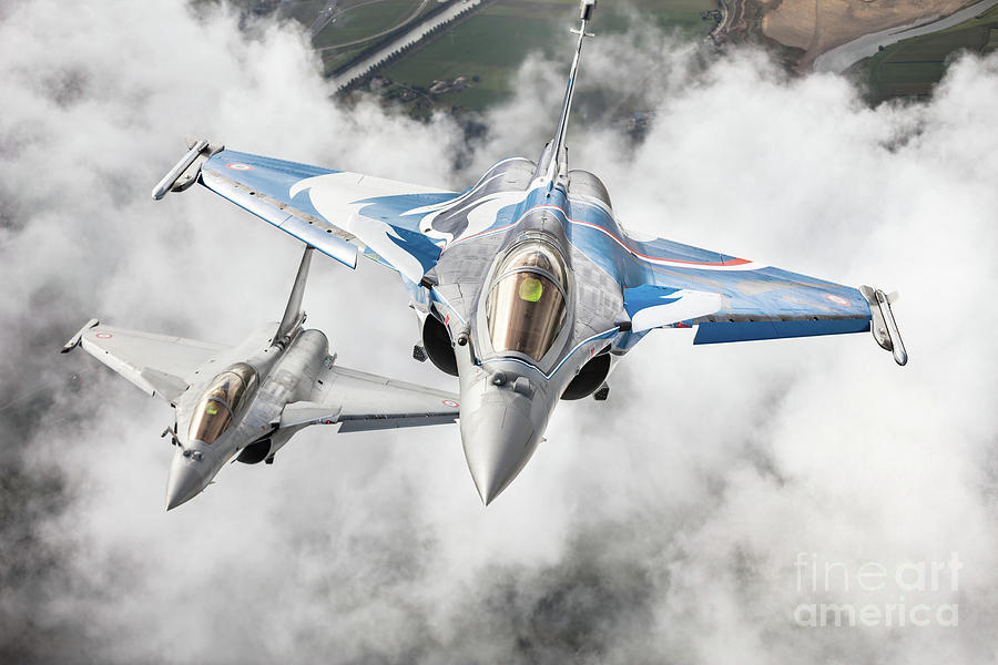 Army Photograph - French Dassault Rafale Formation 1 by Rastislav Margus