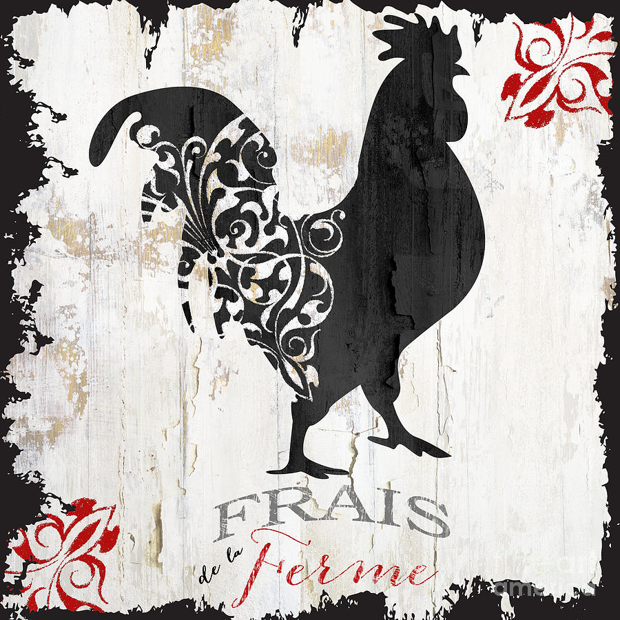 Farm Painting - French Farm Sign Rooster by Mindy Sommers