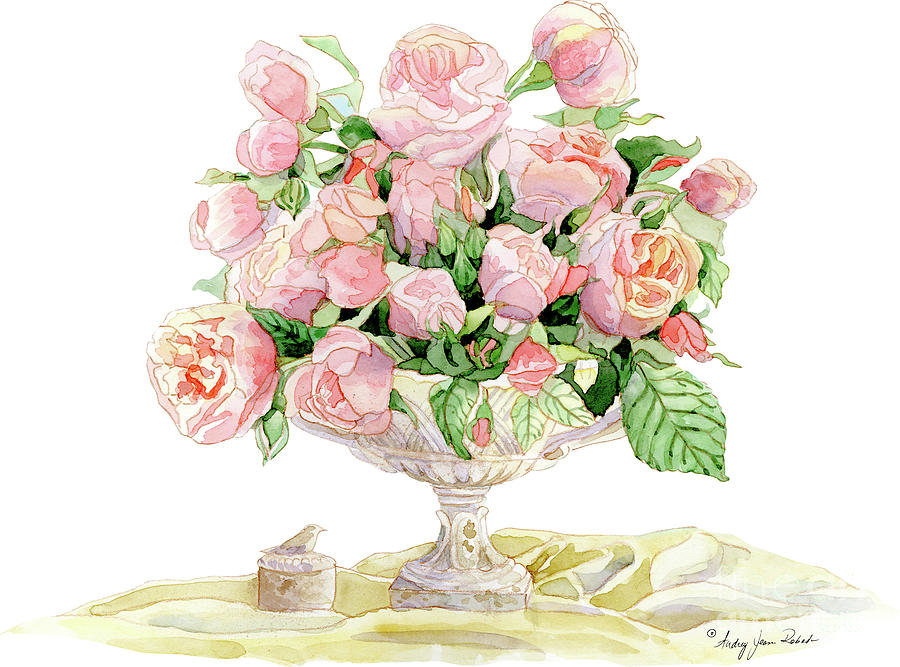 French Painting - French Floral Still Life - Bouquet Of Antique English Roses by Audrey Jeanne Roberts
