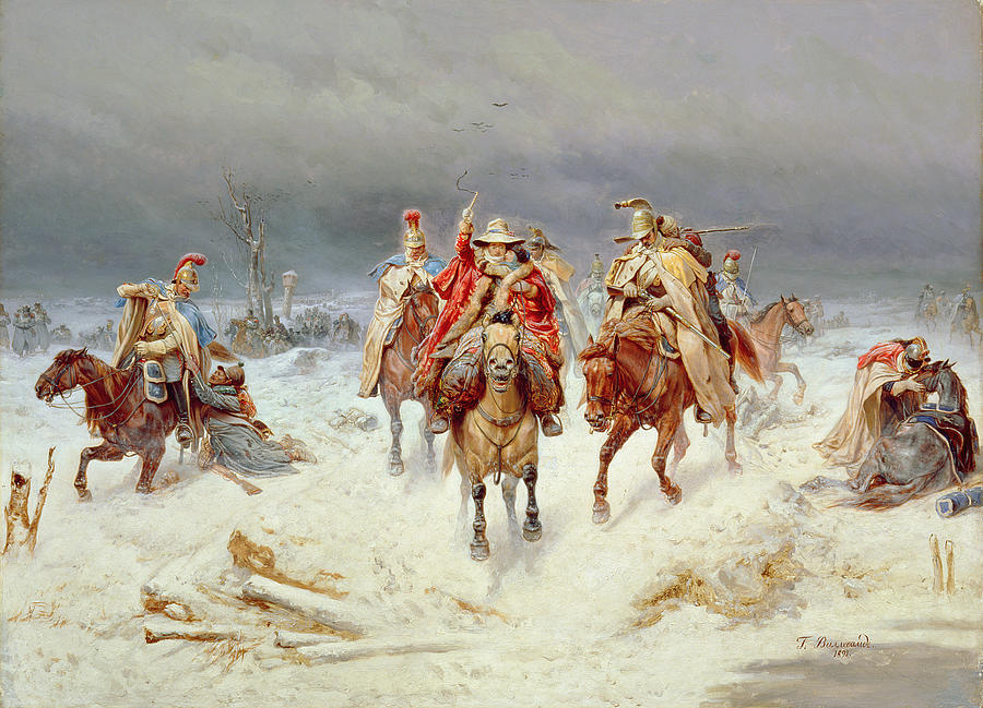 French Painting - French Forces Crossing The River Berezina In November 1812 by Bogdan Willewalde