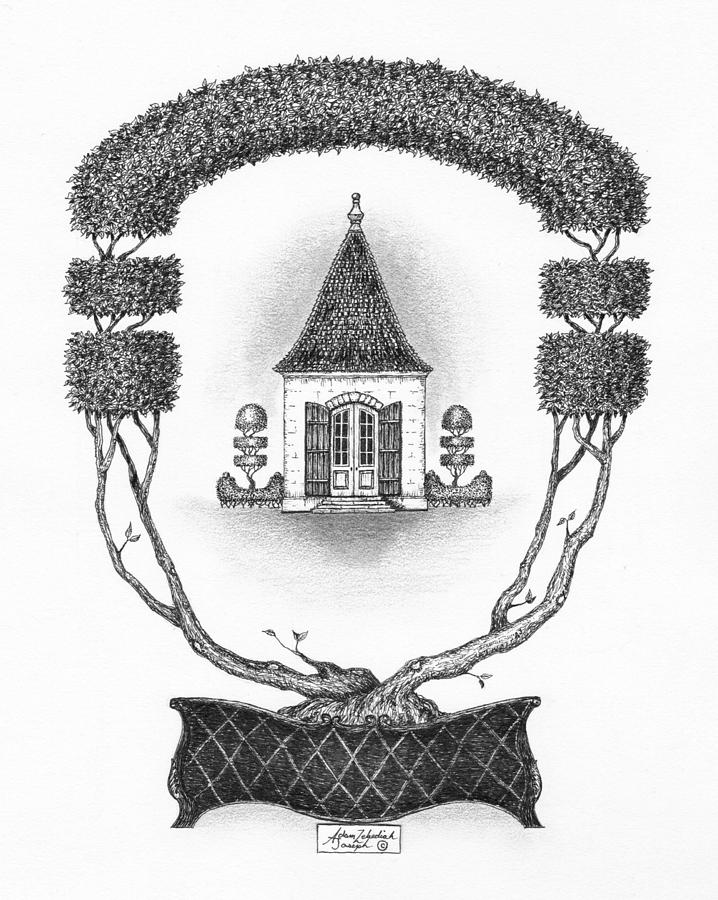 Black Drawing - French Garden House by Adam Zebediah Joseph