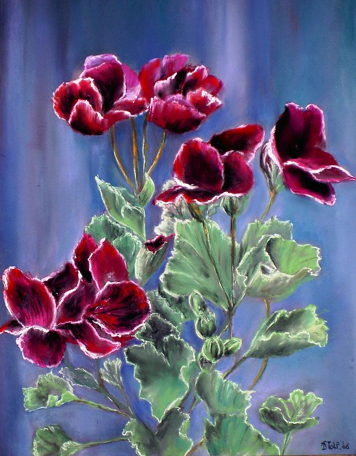 Pastel Painting - French Geraniums by Dick Stolp