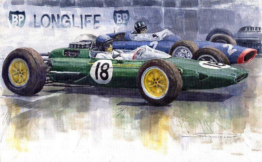 Watercolour Painting - French Gp 1963 Start Lotus Vs Brm by Yuriy  Shevchuk