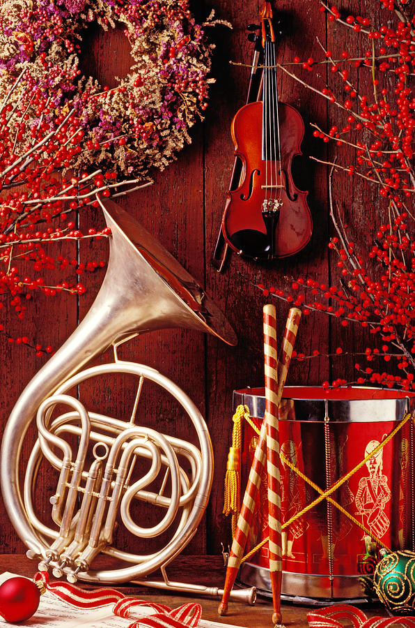 Violin Photograph - French horn Christmas still life by Garry Gay
