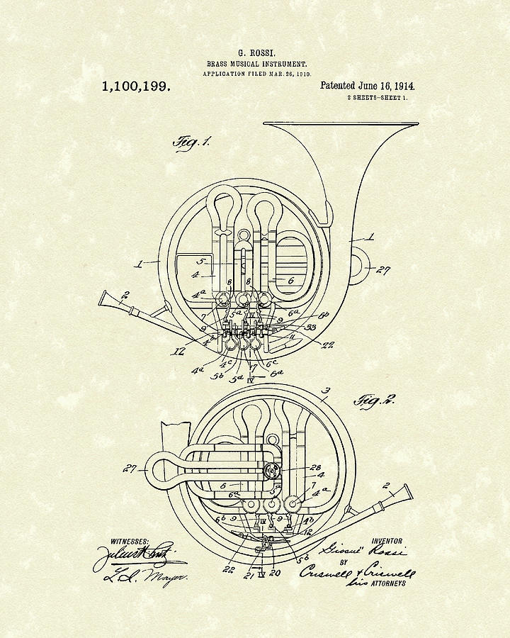 Music Drawing - French Horn Musical Instrument 1914 Patent by Prior Art Design