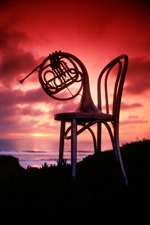 French Horn Photograph - French Horn On Chair by Garry Gay