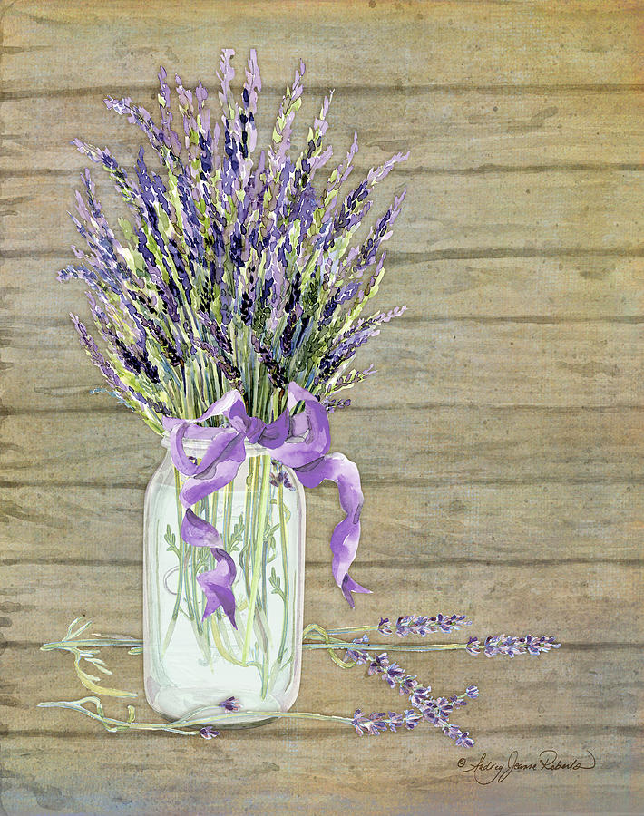 Watercolor Painting - French Lavender Rustic Country Mason Jar Bouquet On Wooden Fence by Audrey Jeanne Roberts