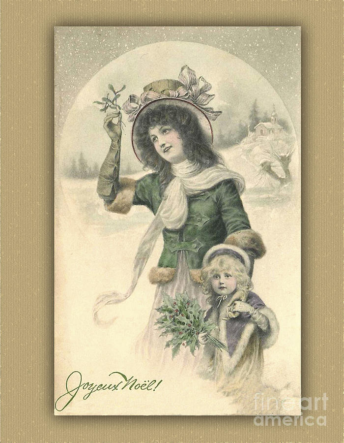 French Digital Art - French Mother And Child Christmas Card by Melissa Messick