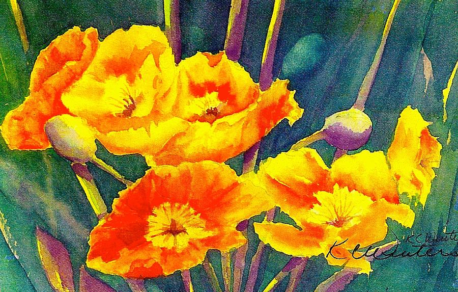Nature Painting - French Poppies by KC Winters
