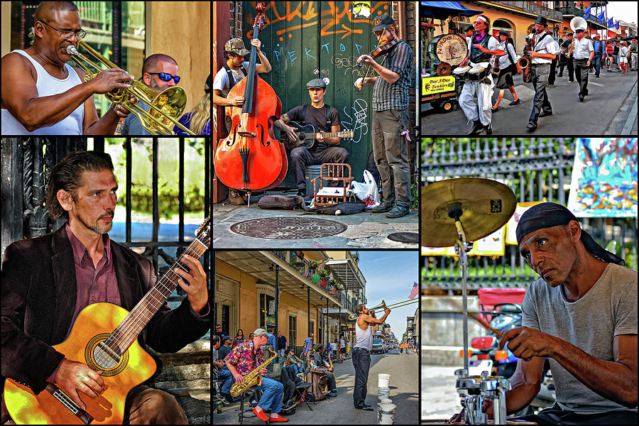 French Quarter Photograph - French Quarter Musicians Collage by Steve Harrington