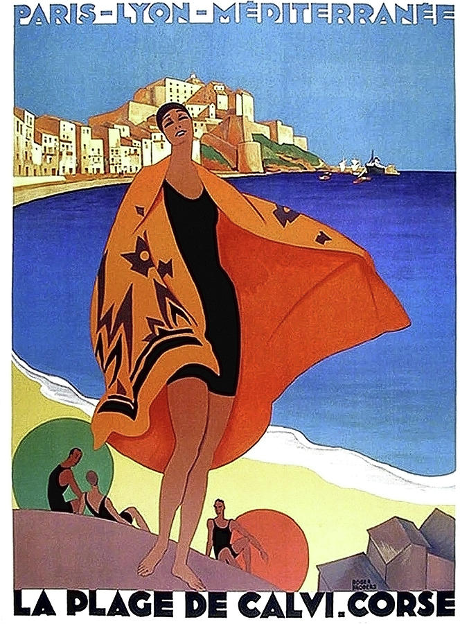 French Riviera Painting - French Riviera, Woman On The Beach, Paris, Lyon, Mediterranean Railway by Long Shot
