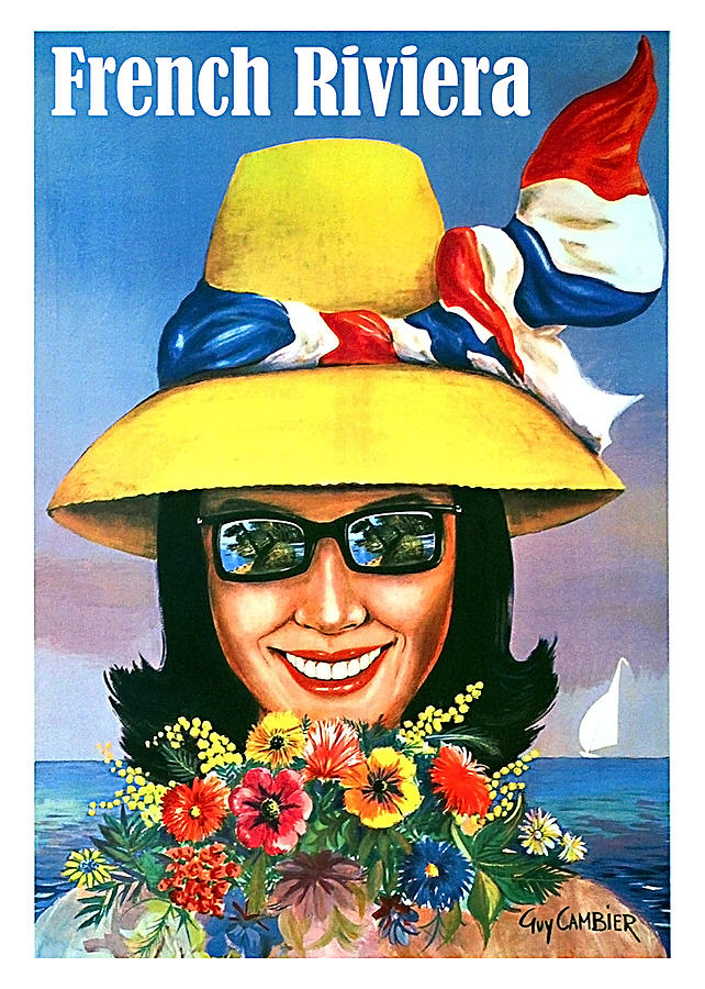 French Riviera Woman With Sunglasses And Big Yellow Hat Painting