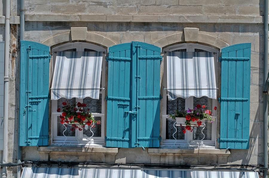 Arles Digital Art - Shuttered Windows And Flowers by Matt Oaks