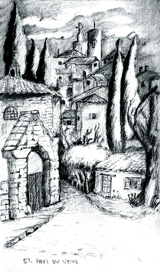 French Village Drawing - French Village by Dan Earle
