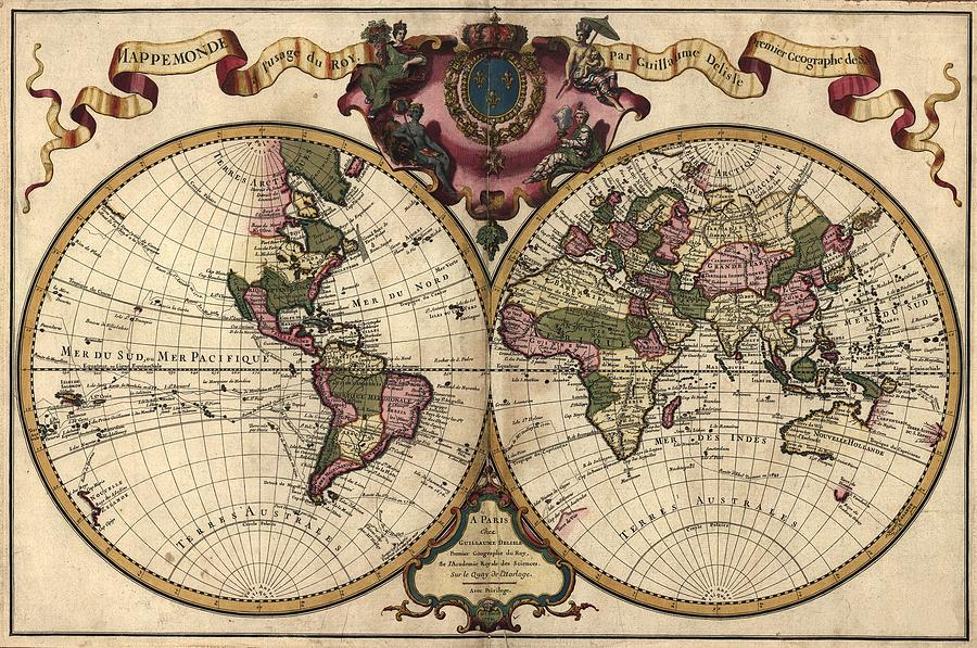 French World Map Shows Nautical Photograph By Everett