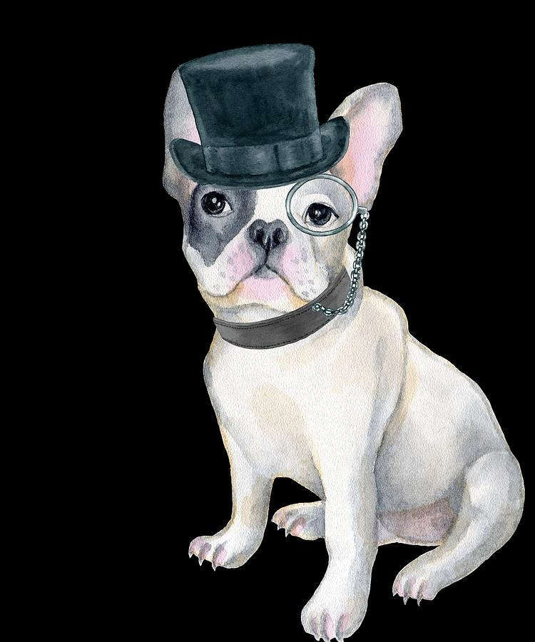 c533c8ce Dog Digital Art - Frenchie French Bulldog Top Hat Monocle Dogs In Clothes  by Trisha Vroom