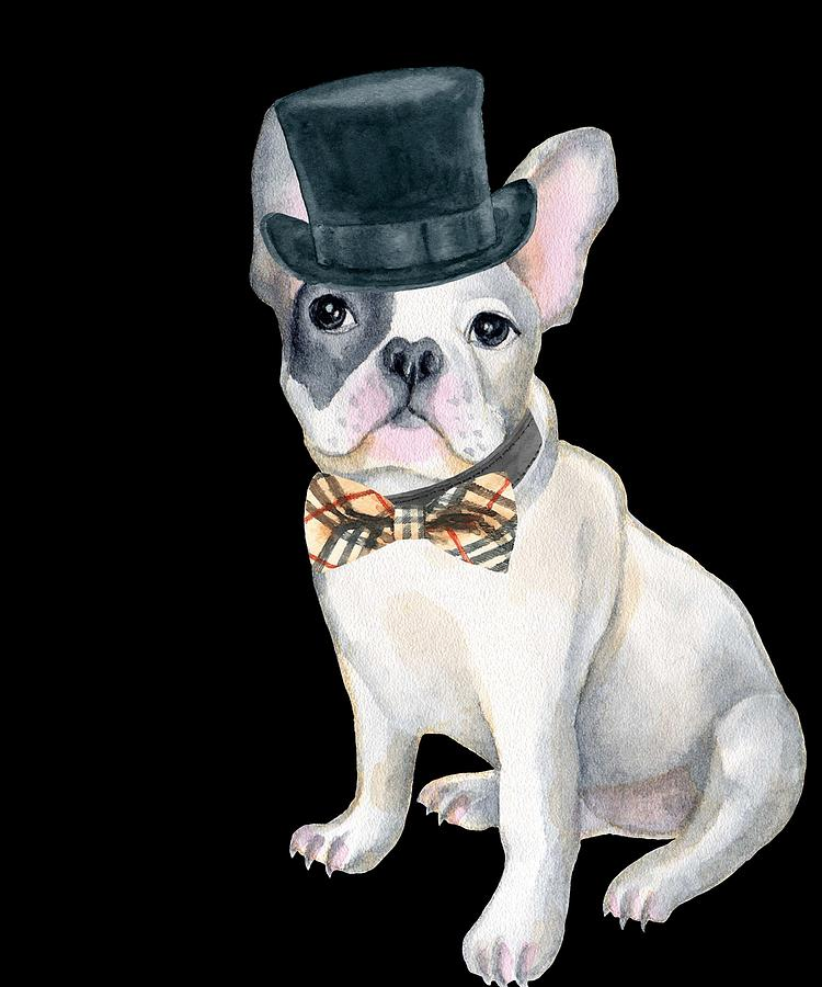 4f42539fdf02d Dog Digital Art - Frenchie French Bulldog Top Hat Plaid Bow Tie Dogs In  Clothes by