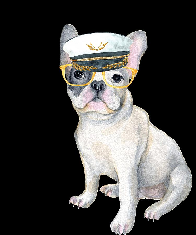 a6196bb251e Dog Digital Art - Frenchie French Bulldog Yellow Glasses Captains Hat Dogs  In Clothes by Trisha