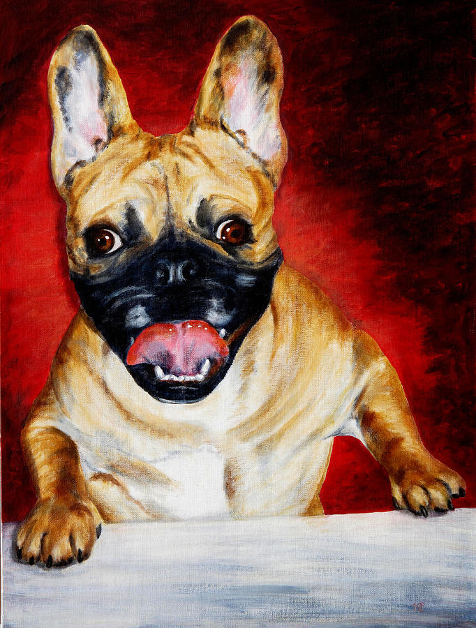 Frenchie Painting - Frenchie With A Smile by Karen Peterson