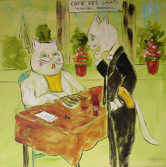 Cat Painting - Frenchy At The Restaurant by Frenchy Le Chat