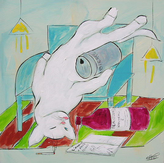 Cat Painting - Frenchy Drunk by Frenchy Le Chat