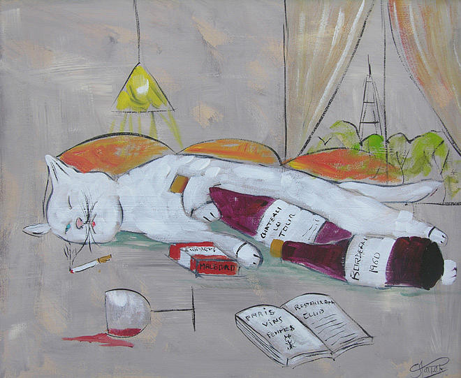 Cat Painting - Frenchy Drunk In Paris by Frenchy Le Chat