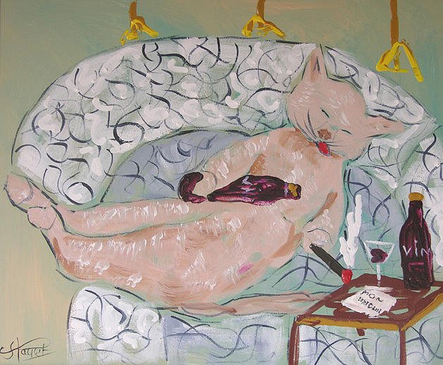 Cat Painting - Frenchy Drunk On Sofa by Frenchy Le Chat