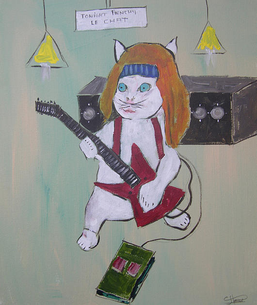 Cat Painting - Frenchy Le Chat Rock Roll by Frenchy Le Chat