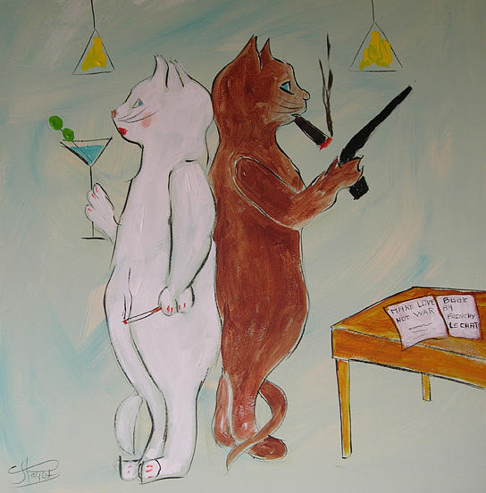 Cat Painting - Frenchy Make Love Not War by Frenchy Le Chat