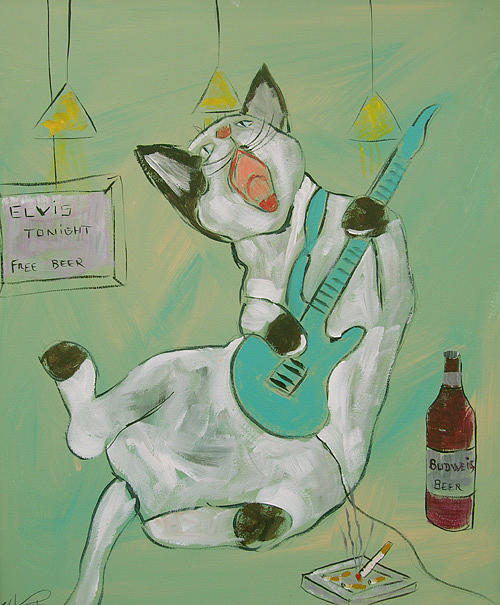 Cat Painting - Frenchy Playing Elvis by Frenchy Le Chat