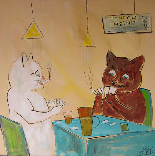 Cat Painting - Frenchy Playing Poker by Frenchy Le Chat