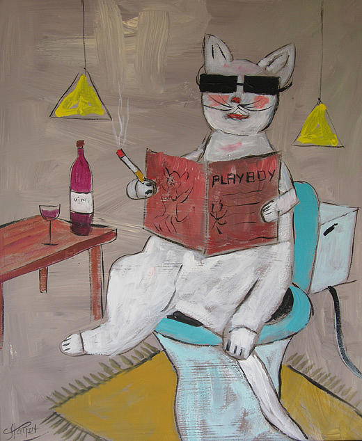 Cat Painting - Frenchy Reading Playboy Magazine by Frenchy Le Chat