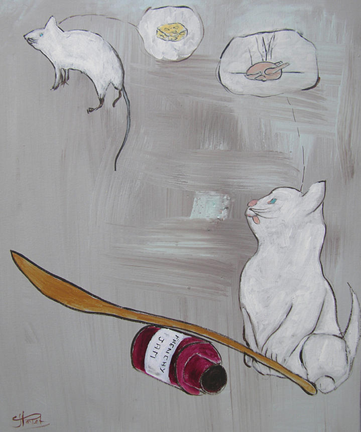 Cat Painting - Frenchy Starving by Frenchy Le Chat