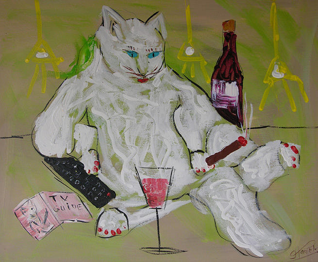 Cat Painting - Frenchy Watching Tv by Frenchy Le Chat