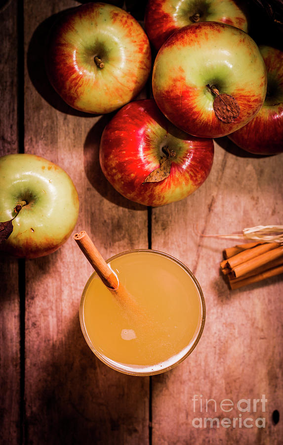 Fresh Apple Cider With Cinnamon Sticks And Apples Photograph by ...
