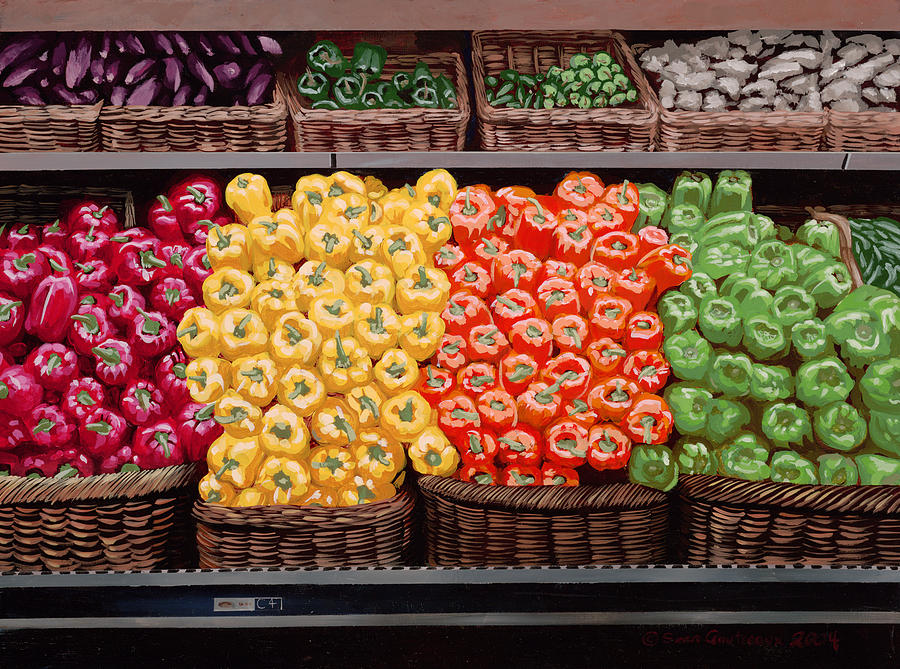 Food Painting - Fresh Bell Peppers At Whole Foods In New Orleans by Sean Gautreaux