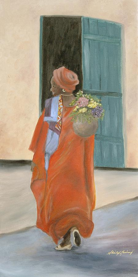 Lady In Red Painting - Fresh Bouquet by Shirley Lawing