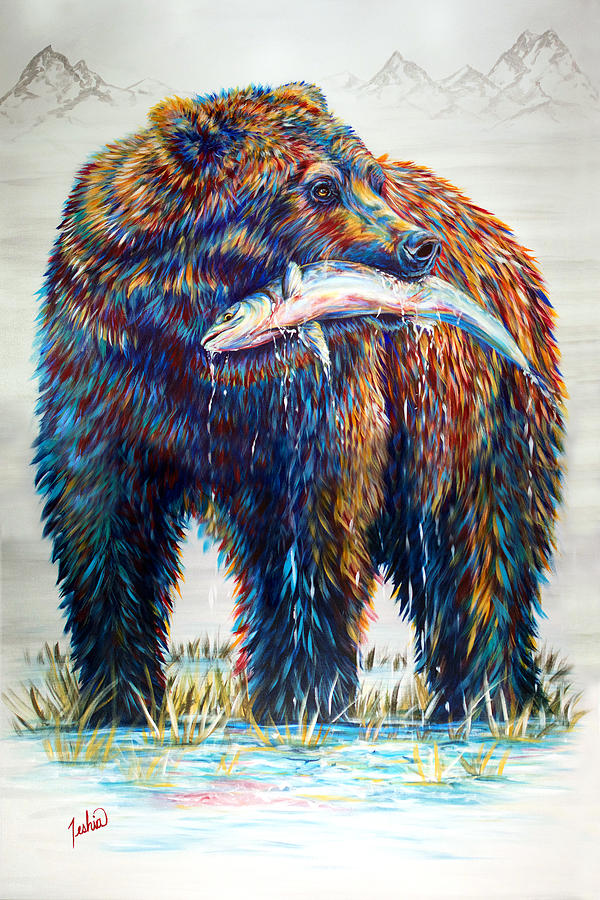Grizzly Painting - Fresh Catch by Teshia Art