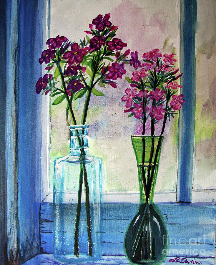 Fresh Cut Flowers In The Window Painting By Patricia L Davidson